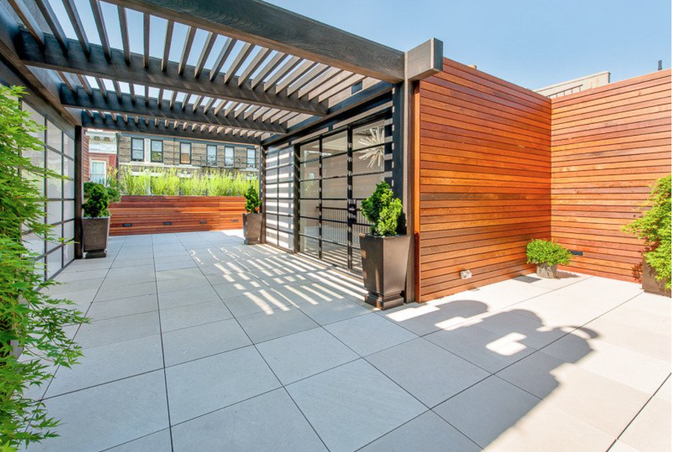 The rooftop deck is a convenient outdoor space with built-in smart technology.
