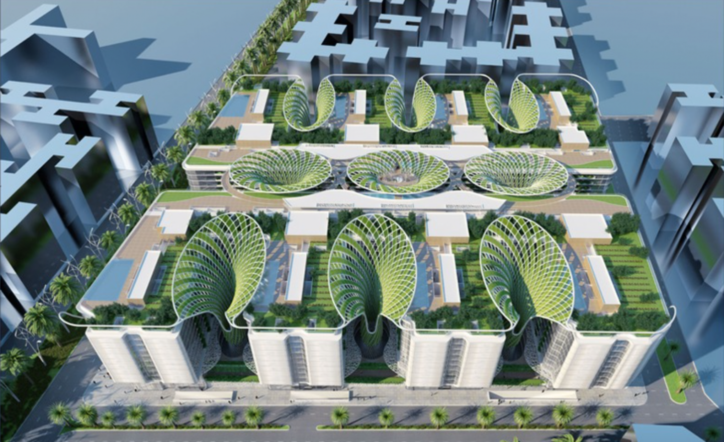 Overhead view of the interconnected complex and its mega trees.