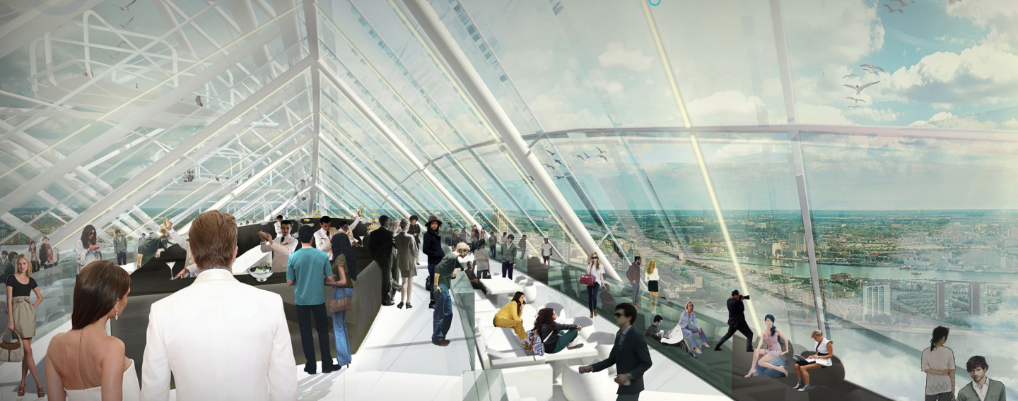 Sky lobby observation deck with panoramic views