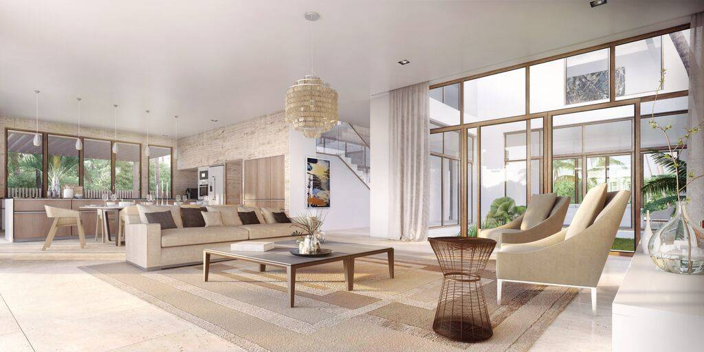 Interior rendering of home conceptualized by Oppenheim Architecture + Design, dressed by V Starr