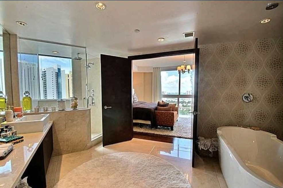 The penthouse features four bedrooms and five bathrooms.