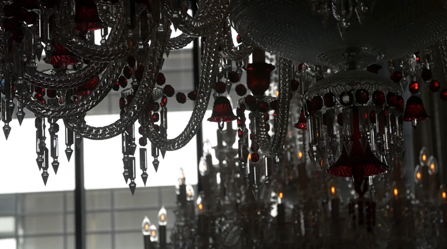Crystal chandeliers are a consistent staple in the hotel and each residence.