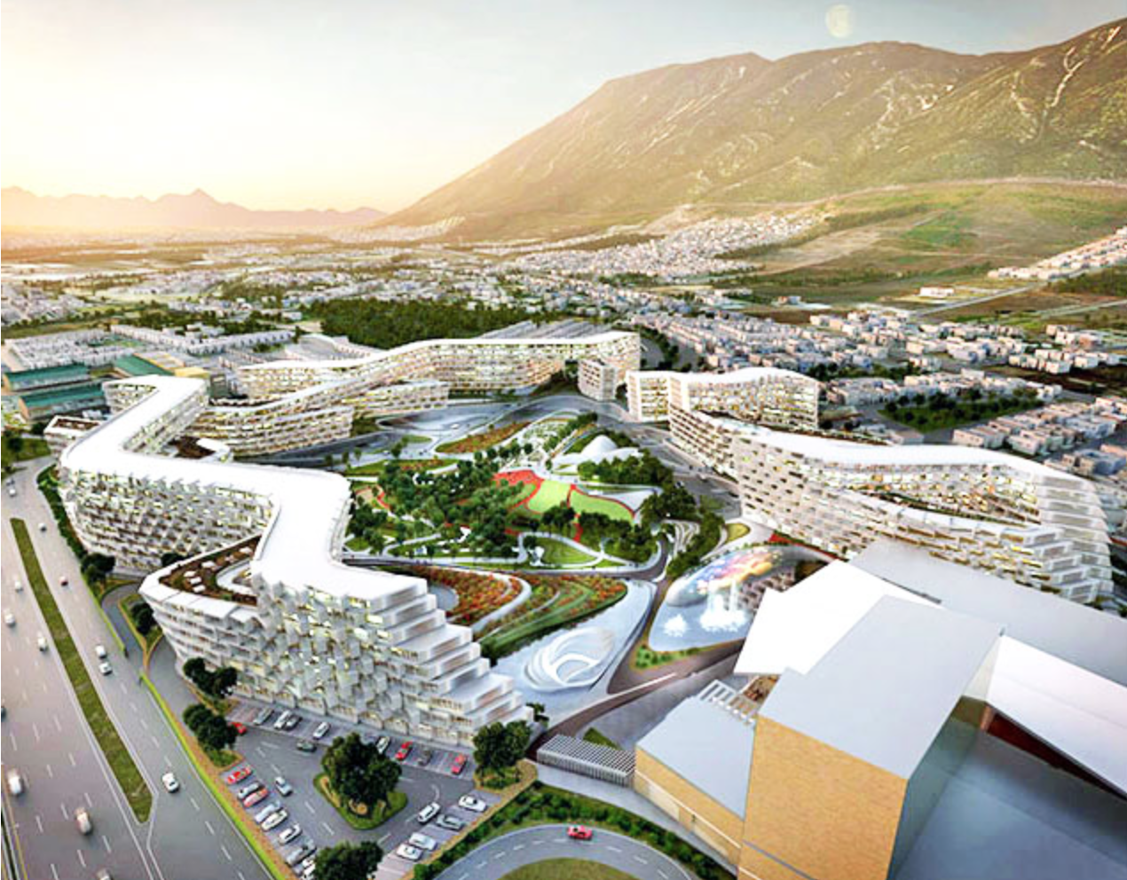 Esfera City Center is a honeycomb-styled, energy-efficient complex that uses the surrounding environment to reduce solar gain and capture prevailing winds.