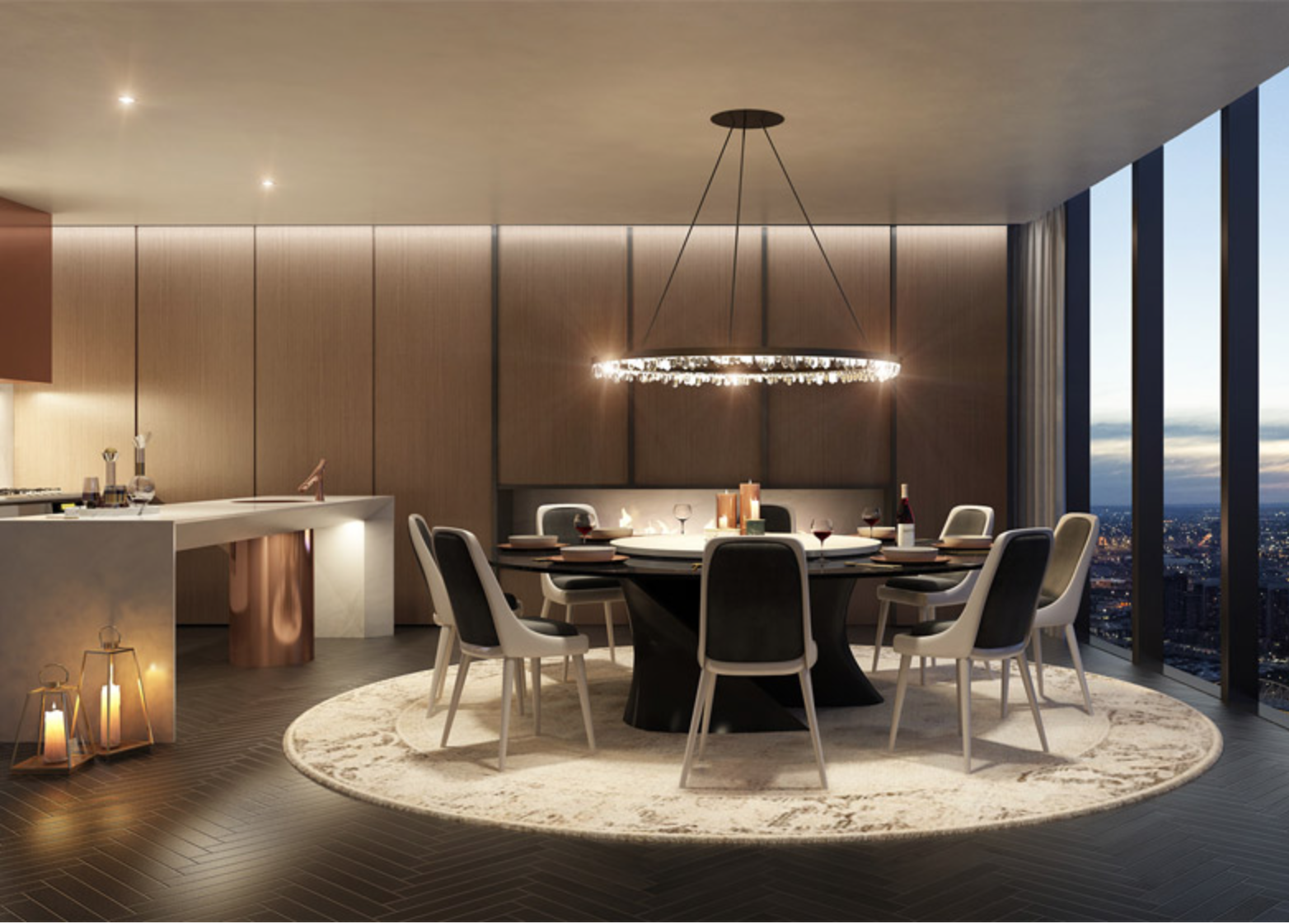 Interiors are as luxurious and attractive as the outer curved glass façade.