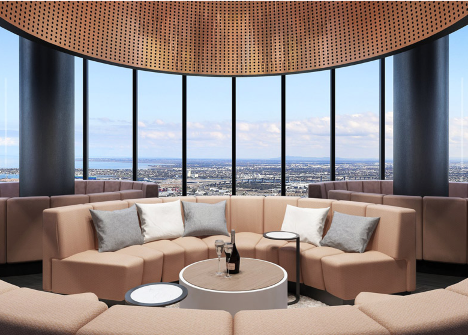 A sky lounge offers panoramic views of downtown Melbourne.