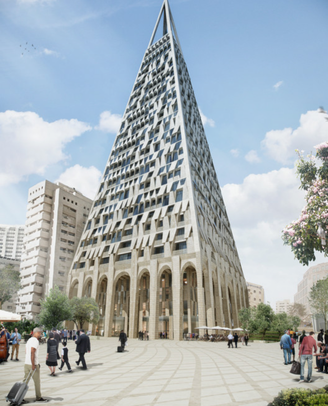 The tower will connect to a plaza, a shopping arcade and surrounding open space.