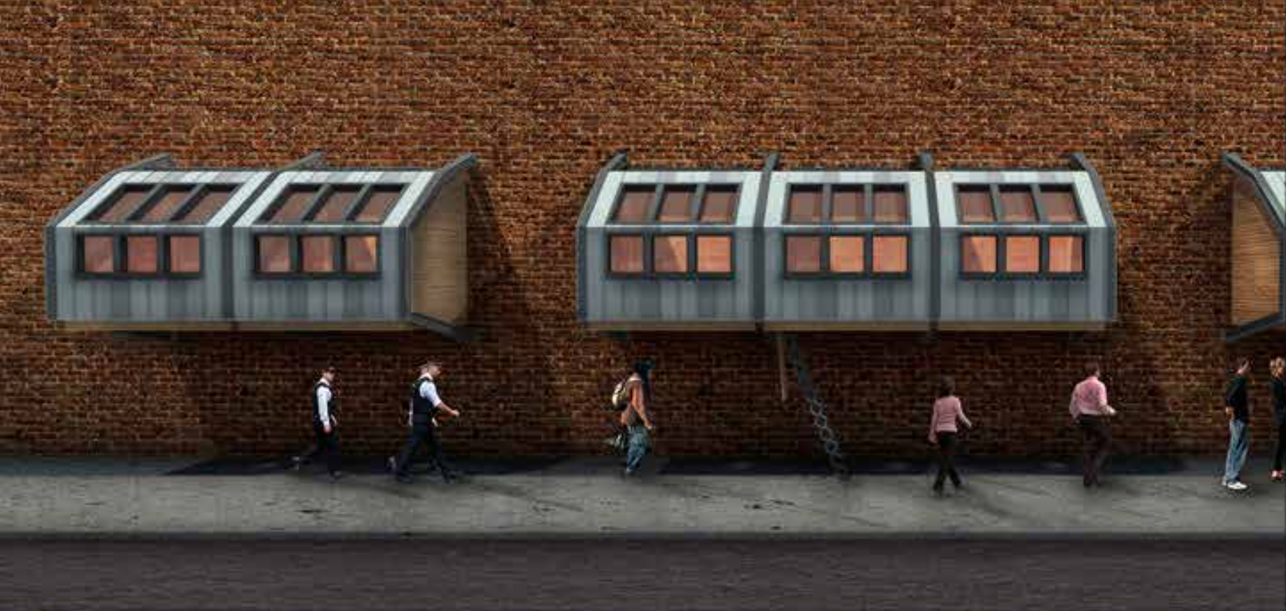 These temporary sleeping pods can be attached to the side of any building or structure, providing a a safe haven for homeless to get a good night's rest.