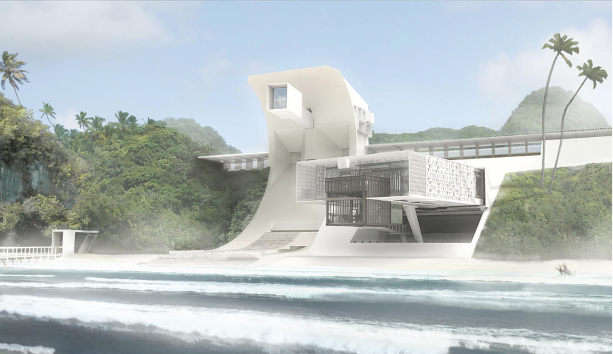 The futuristic structure's living area features a micro-climate evaporation pool to cool the home during the summer.
