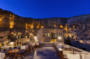 Turkey's Yunak Evleri hotel is seven ancient cave houses recessed into limestone cliffs of the Cappadocia region.