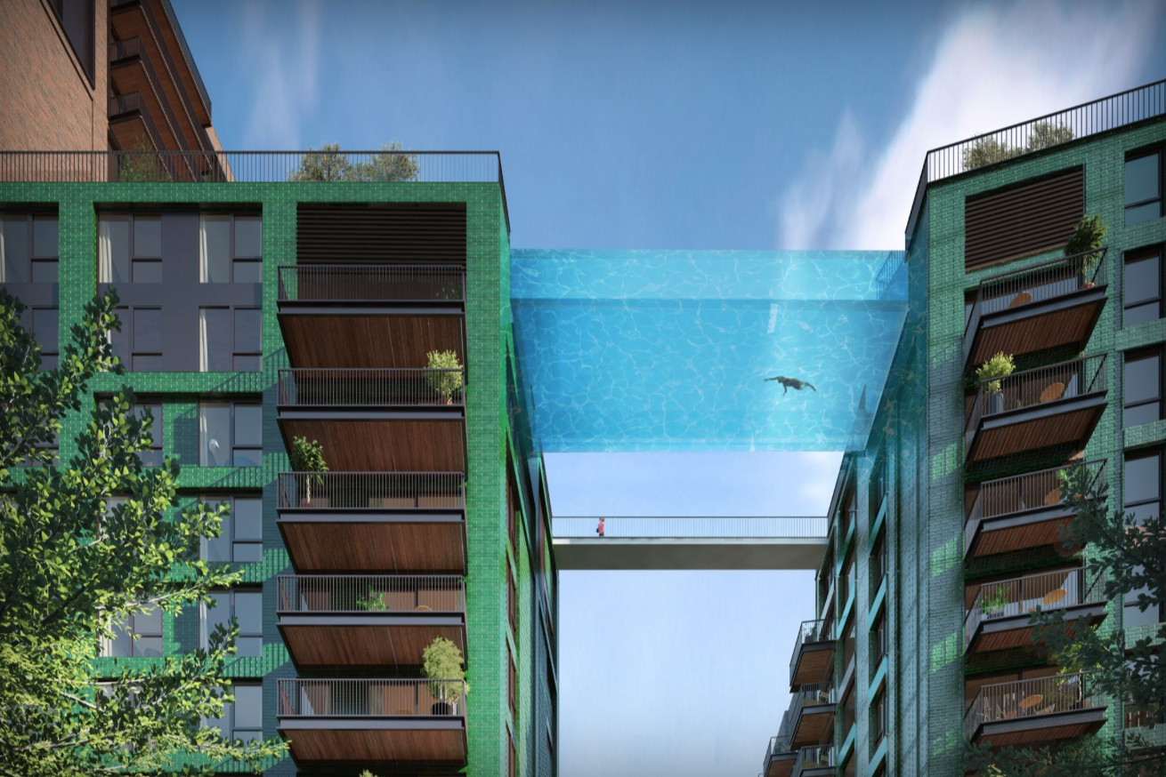 Sky Pool will be a 90-foot-long, glass-bottomed pool protected by 20 cm-thick glass.