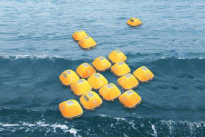 Duckweed survival shelters can launch individually or be tethered together to increase stability, resistance and visibility in the water.