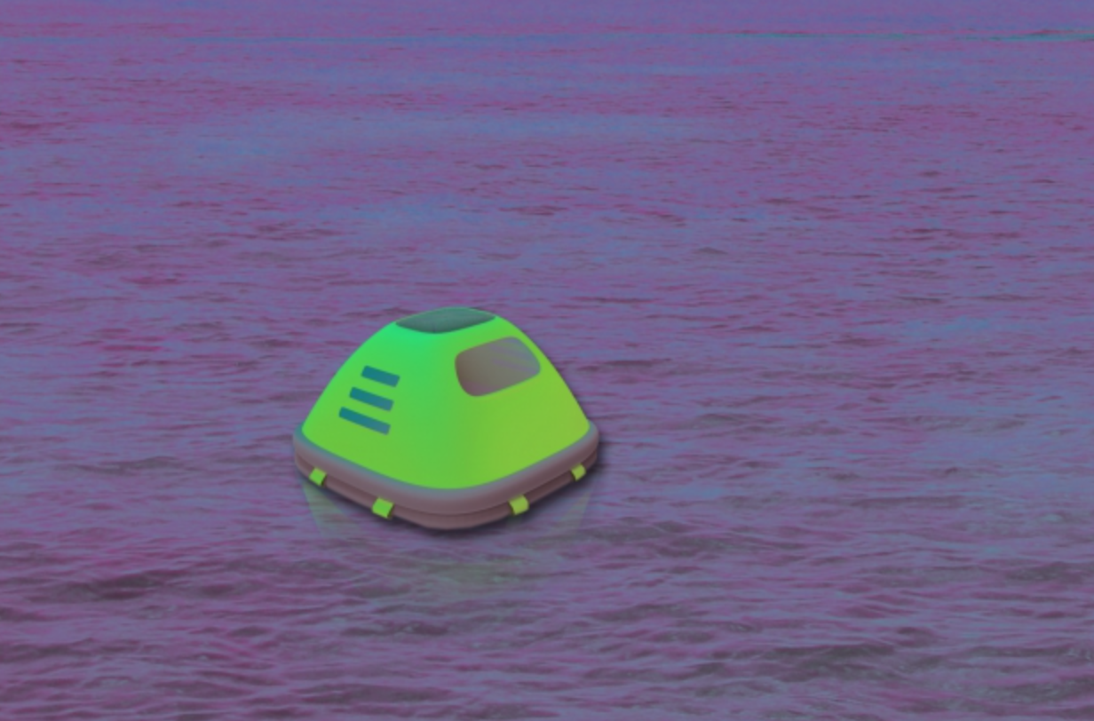 Duckweed's fluorescent, cube-shaped shelters allow rescuers to locate the them easily, even at night.