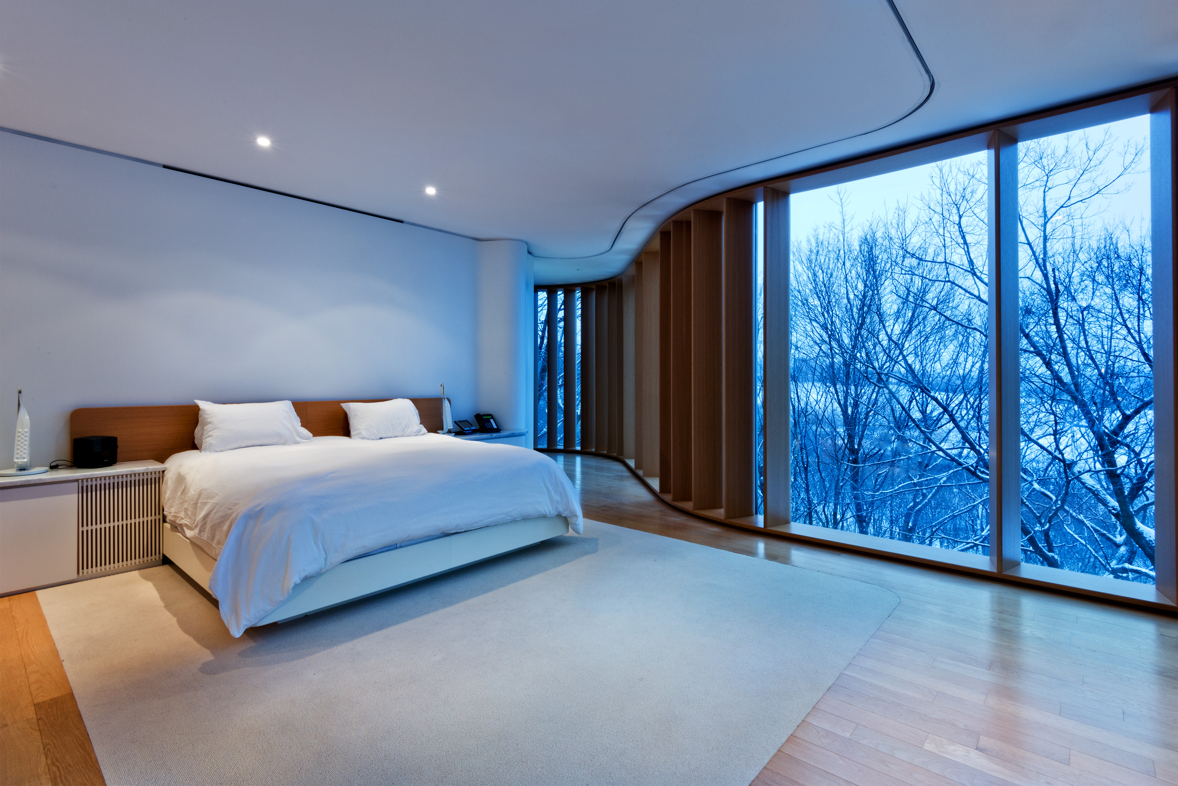 The bedrooms are located on the upper floors