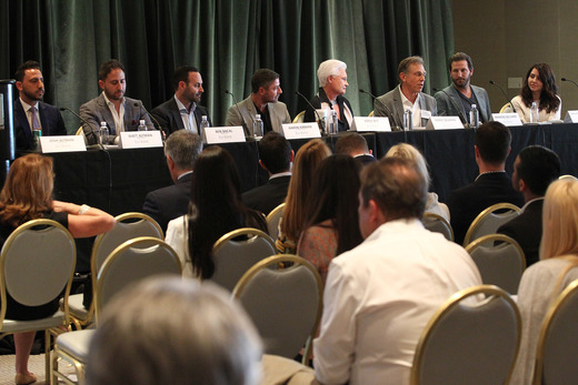 """$100 Million Club"" Panel: (from left to right) Josh Altman, Ben Bacal, Aaron Kirman, Joyce Rey, Randy Solakian, and Branden and Rayni Williams"