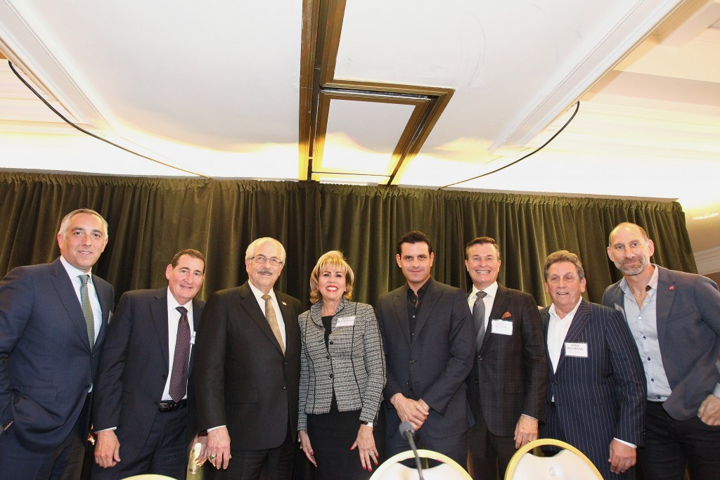"""SoCal Power Brokers"" Panel: (from left to right) Stephen Kotler, Syd Leibovoitch, Timothy Lappen, Myra Nourmand, Kurt Rappaport, Frank Symons, Stan Richman, and Billy Rose"