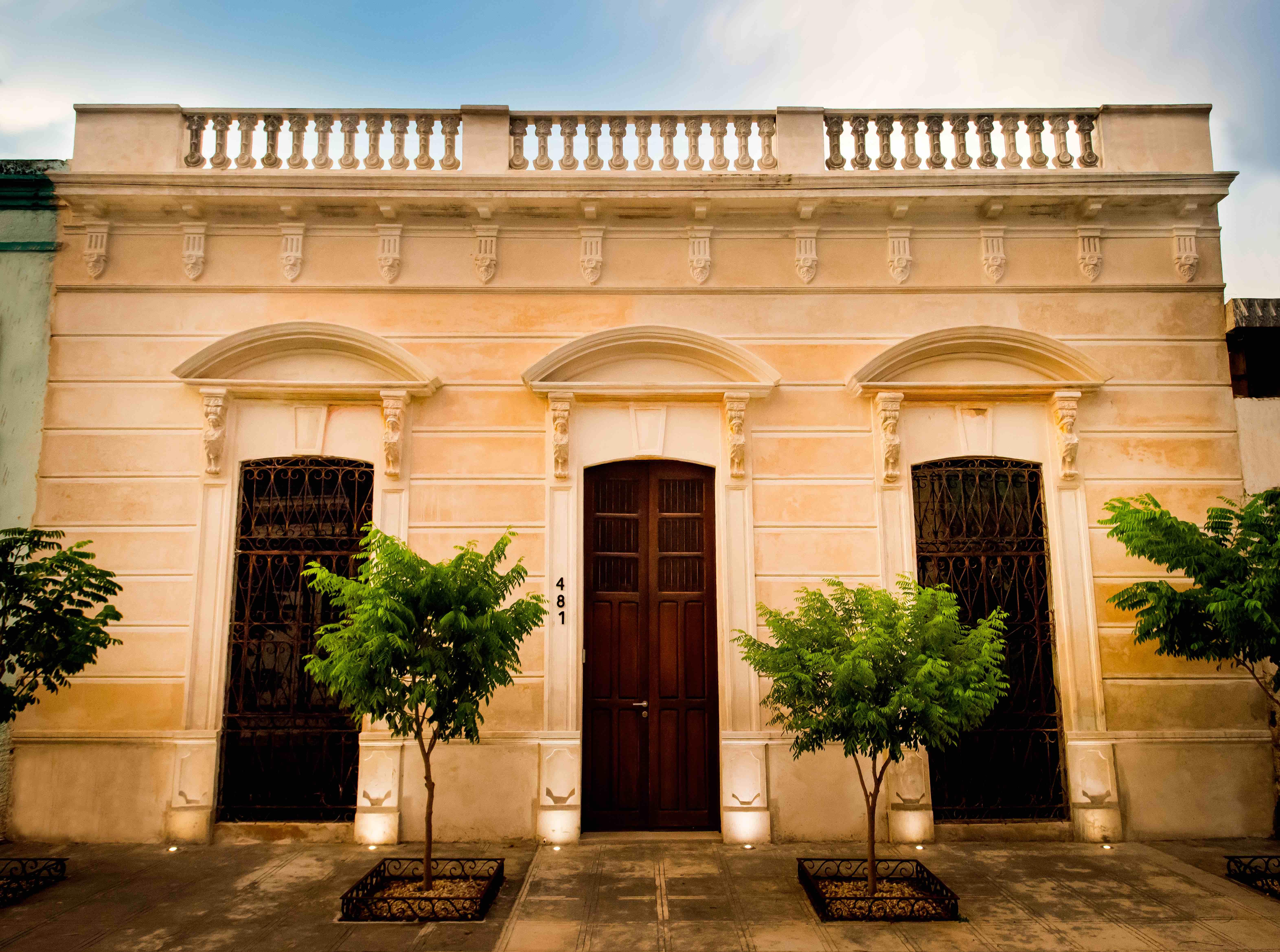 A Building Facade Characteristic Of Meridas Historic Center
