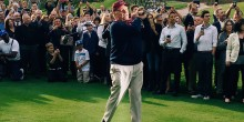 Jack Nicklaus tees off the weekend-long golf course opening with a flawless follow-through