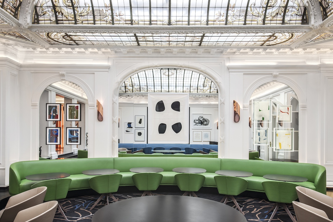 Restaurant at Hotel Vernet, benches by Francois Champsaur, tables and chairs by Lievore Alther Molina and PHS, drawings and prints by Katrin Bremermann