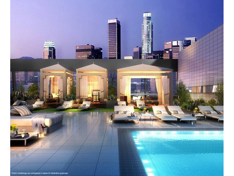 Artist's rendering of the rooftop pool at The Ritz-Carlton Residences at L.A. LIVE