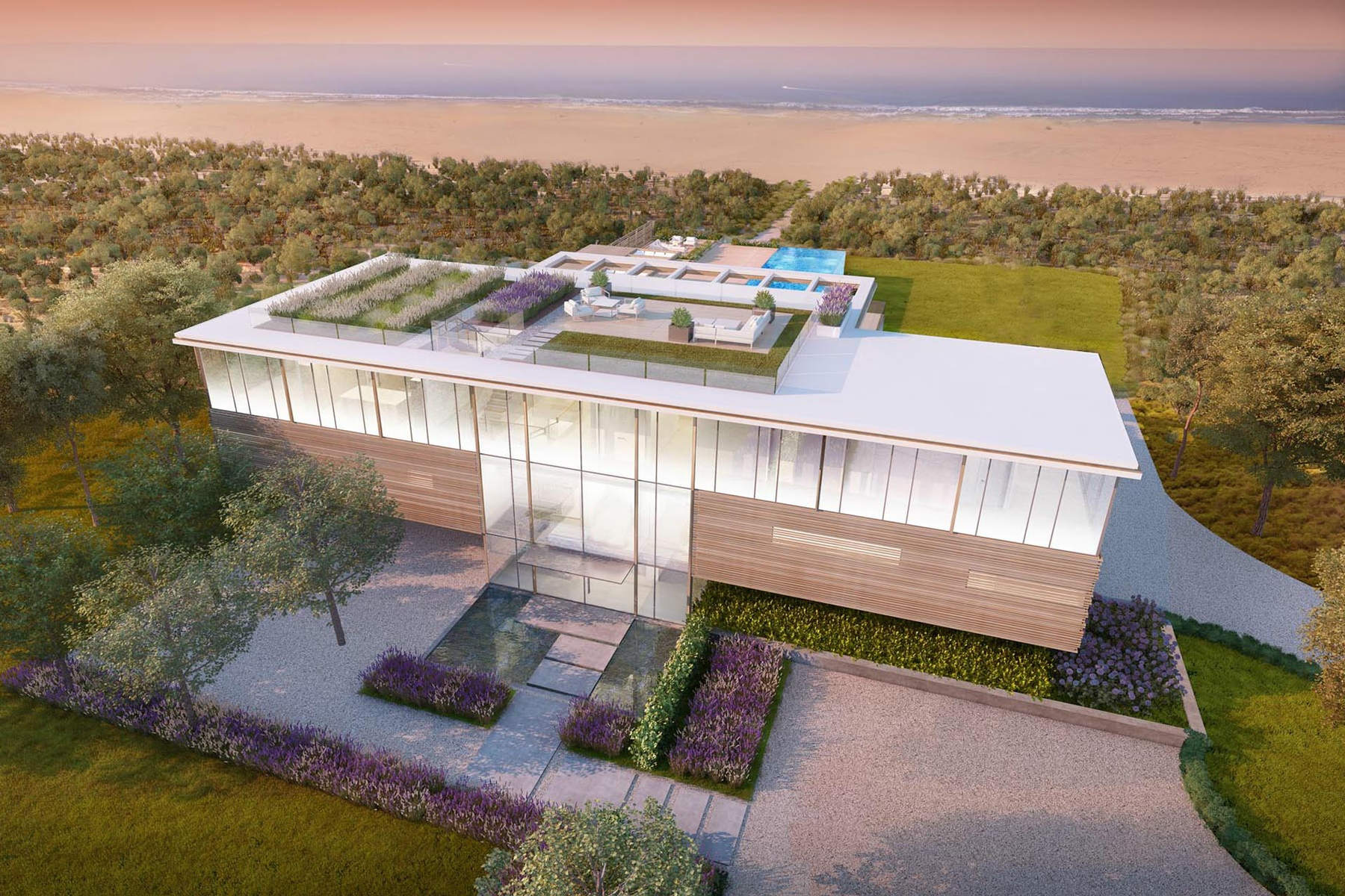45m hamptons spec house is designed with transparent pool for Pool design hamptons