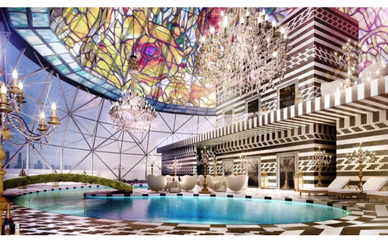 Tiffany-type Dome Light Above Pool Area, Mondrian Doha