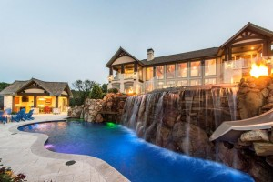 twilight house kitchen waterfall slide firebowls