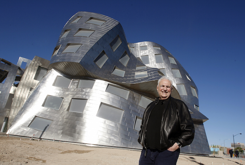 In this photo taken March 17, 2010 architect Frank Gehry is seen in front of his latest creation, the Cleveland Clinic Lou Ruvo Center for Brain Health, in Las Vegas. (AP Photo/Isaac Brekken)