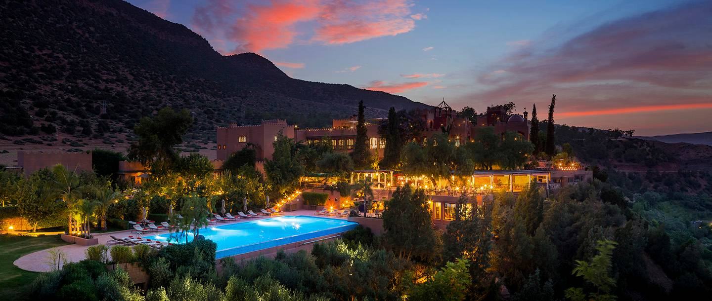 Kasbah Tamadot at dusk / photo courtesy of www.virginlimitededition.com