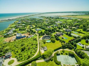 Drone shot of the Hamptons