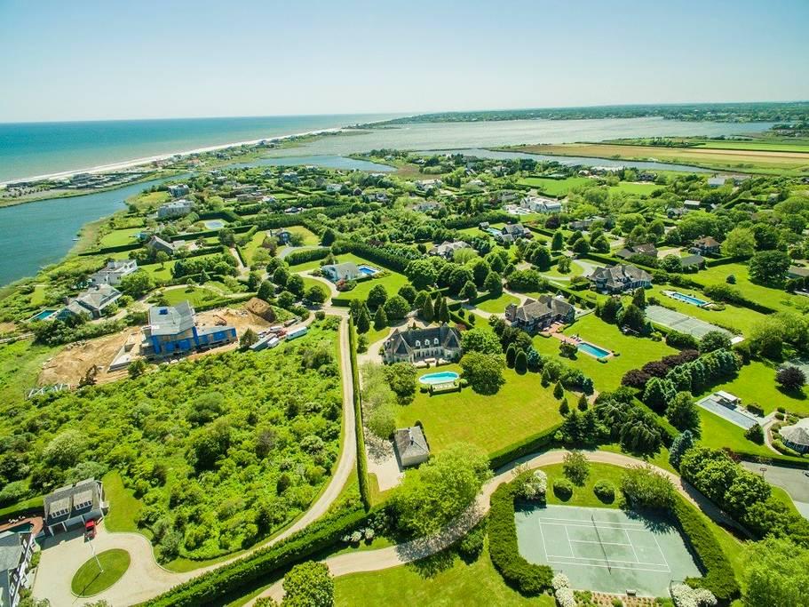 Drone shot of the Hamptons