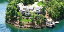 Overhead view of Nick Saban lake house