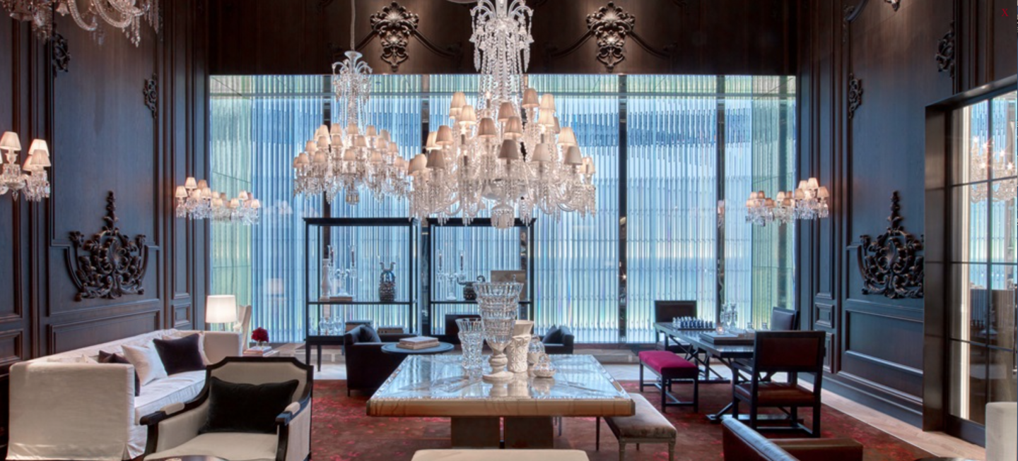 Salon Style New Yorkais crystal palace: flagship baccarat hotel and residences