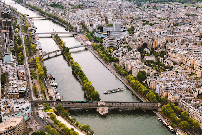Romantic,Paris,From,Top,Of,Eiffel,Tower.,15th,,16th,Arrondissements,