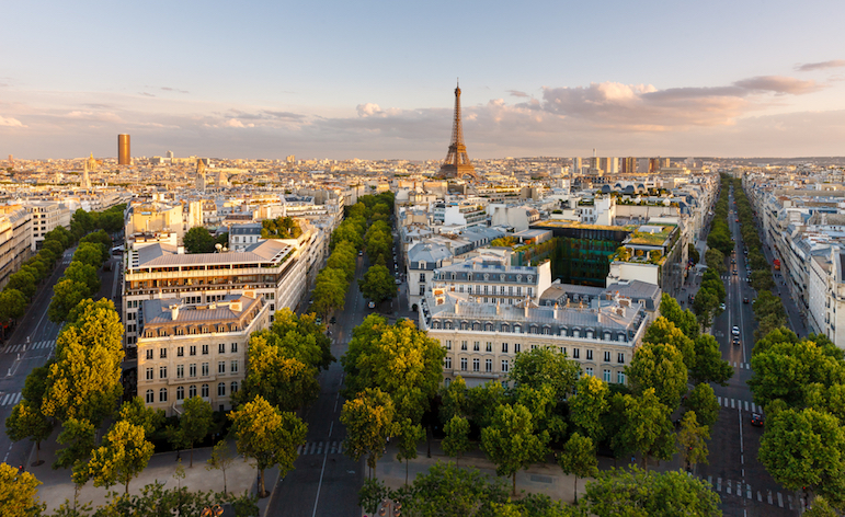 Paris,From,Above,Showcasing,The,Capital,City's,Rooftops,,The,Eiffel