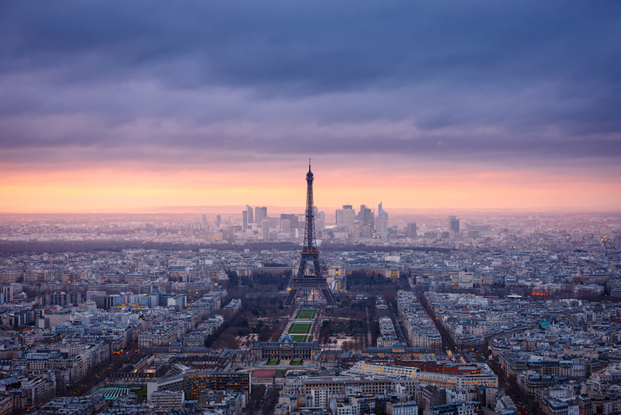 Paris,Cityscape,Clad,In,Pink,At,Dusk.,Aerial,View,Of